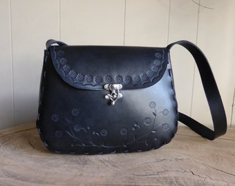Large Black floral tooled leather bag purse - Handmade in Australia
