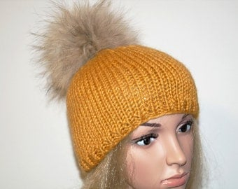 Yellow (mustard) Hat,Alpaca Wool Hat, Winter Cap,Womans Hat , Natural Fur Pompon,Hat Fur Pom Pom,Hand Knitted Hat,Handmade Cap