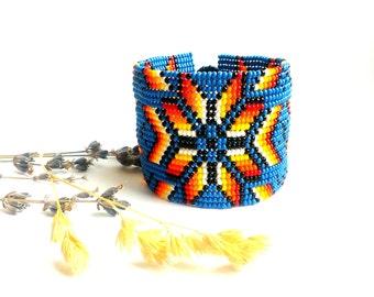 Blue bracelet Beaded bracelet Huichol bracelet Wide bracelet Bangle bracelet Floral bracelet Flower bracelet Royal blue Bangle bracelet
