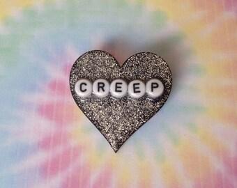 Creep Glitter Heart Badge/Pin/Brooch