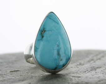 Turquoise silver ring. Size9.  Blue Turquoise ring. Sterling Silver. Ring size 9. Ring size R 1/2. Tibetan Turquoise silver Ring.
