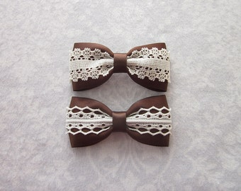 Brown Satin & Off-White Ivory Lace Bow, Hair Accessory, Barrette, Ponytail, Clip, Toddler, Little Girl, School Uniform, Photos