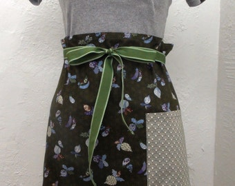 """Japanese Fabric Cotton Cafe Apron in Japanese Vegetables Pattern 39.5"""" x 20"""""""