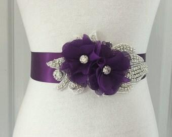 Purple Bridal Sash-Purple Flower Sash-Plum Sash-Wedding Sash-Purple Bridal Belt-Plum Flower Sash-Rhinestone Plum Chiffon Flowers Sash