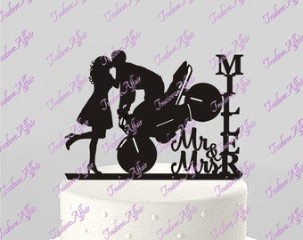 Wedding Cake Topper Silhouette Motorcycle Couple Mr & Mrs Personalized with Last Name, Acrylic Cake Topper [CT123]