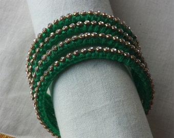 Blue Green Handcrafted Silk Thread Jhumka Clear By Nirmity