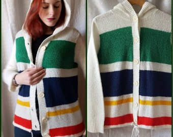Vintage Hooded Sweater, White with Multi-Color Stripes, Cardigan, Hudson Bay Inspired, 80s