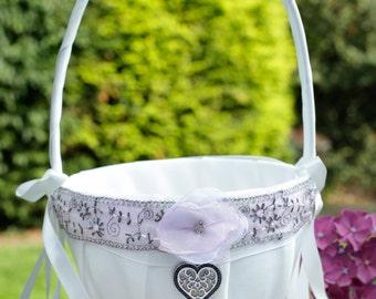 Ivory Flower Girl Basket, Satin Flower Girl Basket, Bow Flower Girl Basket, Wedding Flower Basket with heart