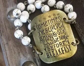 Before  Breakfast Stamped Metal Bracelet