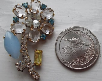 Unique Czech Rhinestone button~Baby blue~clear~Jonquil~Flower