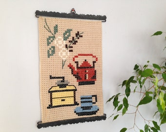 Vintage Swedish embroidery Embroidered wall hanging Large Kitchen Tapestry Cross stitch kitchen wall hanging