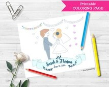 Wedding Coloring Page, Personalized Coloring Page, Custom Favor, Placemat. Coloring page for kids,  Bride and Groom Sheet D701
