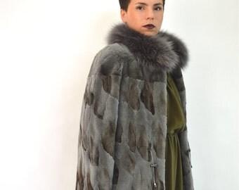 Real sheared fur coat, new fox fur coat, sheared fox coat with fox collar, frost fox fur jacket-coat. Genuine quality pelt, grey fox fur.