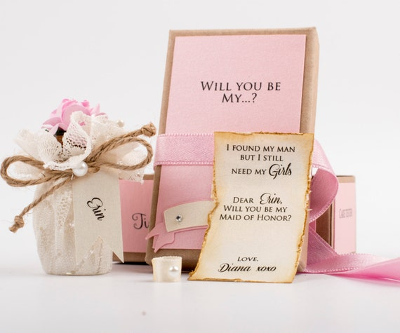 Will You Be My Bridesmaid Message in a Bottle Bridesmaid Proposal Bridesmaid Gift Maid of Honor Invitation Message in a bottle invitation