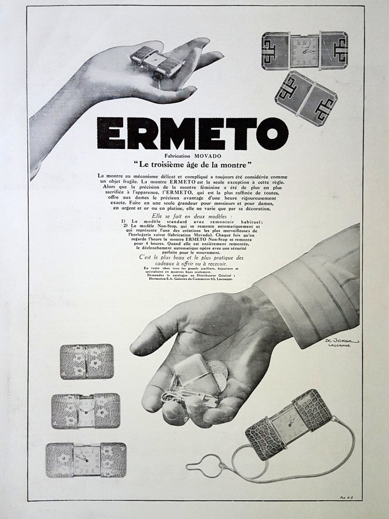 ermeto by movado pocket watches advertising vintage poster