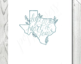 Texas Phrase Watercolor Print  /  8 x 10 INSTANT DOWNLOAD | Texas Print | Hand Lettered Print | State Illustration