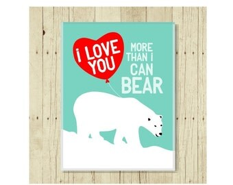 I Love You Magnet, Funny Magent, Refrigerator Magnet, Polar Bear Pun, Polar Bear Magnet, Gifts Under 10, Small Gift, Funny Pun, Gift Magnet