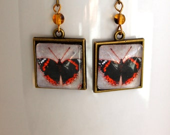 Red Admiral Butterfly Necklace Antique Brass Finish Pierced Ear Dangle Earrings with Bead