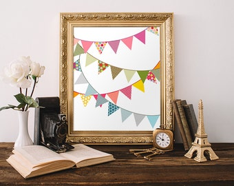 Bunting Print 8x10 Instant Download Flag Printable Art Banner Printable Colorful Nursery Decor Bunting Wall Art Children's Room Decor Bright