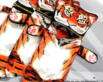 Tiger bag, pencil bag, glasses case, Varsity Hustle, coin purse, bag, purse