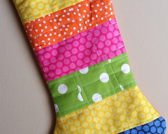 Multi colored, Polka dots, Handmade Quilted Christmas Stocking