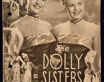 Original 1945 The Dolly Sisters Austrian Movie Poster Program, Pressbook, Herald, Betty Grable, John Payne