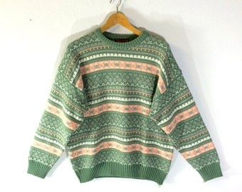 Vintage sweater / 70s hand knit wool pullover / Videogame sweater
