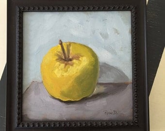Golden Apple - 7x7 in Frame - Original Art by Renee Brennan Art - Apple art, kitchen art, fruit art, apple painting,