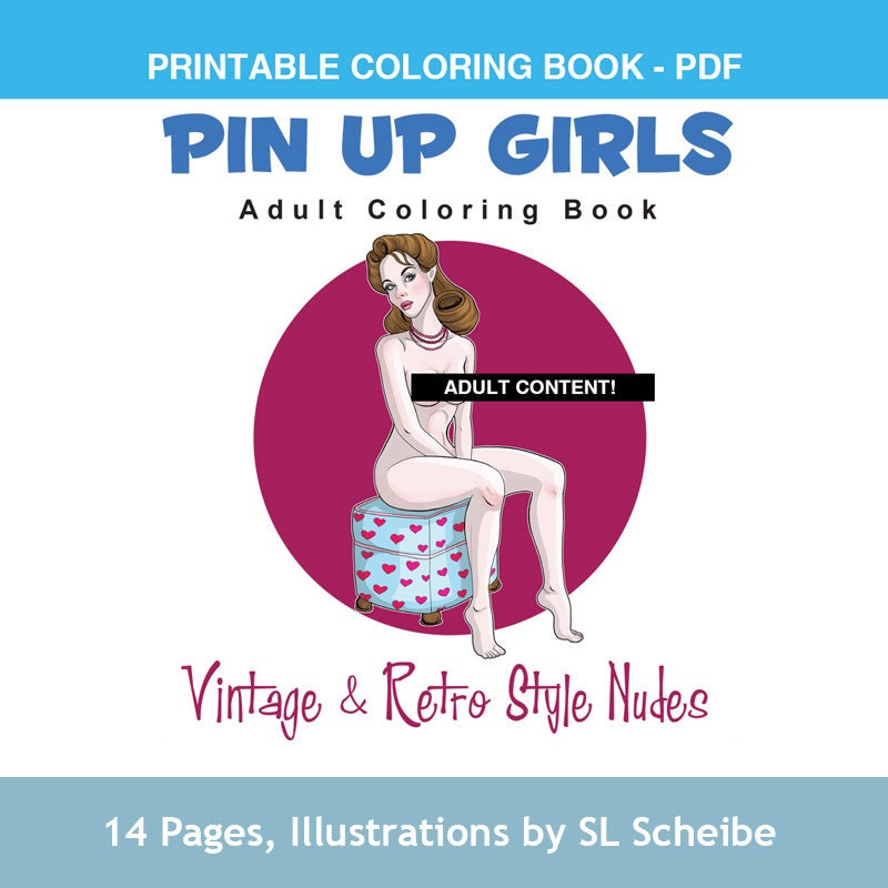 Adult Coloring Book PDF Pin Up Girls Retro Style Nude