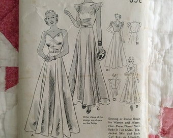 1930s Gown Dress Wedding Dress Butterick 7198 Vintage Sewing Pattern Size 17 Bust 35