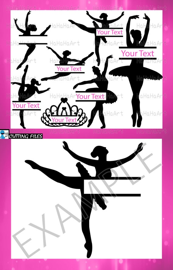 Ballet Girls Big Split Monogram Black Cutting Files Svg