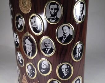 Vintage Metal US Presidents Trash Can Waste Basket Clark