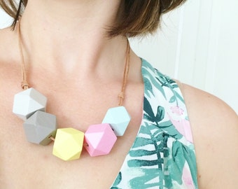 Hand painted necklace. Geometric jewelry. Statement necklace. Pastel jewelry. Mothers Day gift, Faceted beads. Beaded necklace.