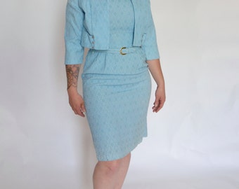 ON SALE!!! 1950's Blue Wiggle Dress with Jacket! Embossed Pattern!