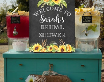 Bridal Shower sign, Printable Sign, Large Format Printable Sign, Sunflowers, Custom Sign, 16x20, 24x30