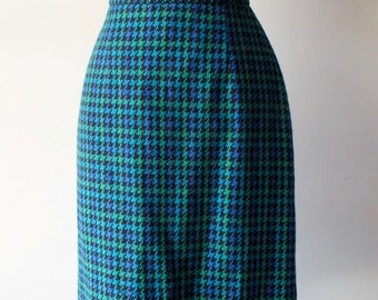60s mid-length houndstooth pencil skirt + Vintage high waist wool skirt