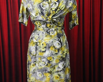 Vintage Yellow Floral Watercolor Print Wiggle Dress & Jacket