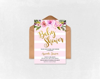 Baby Shower Invitation - Baby Shower - Gold and Pink Invitation - Printable baby shower invitation - Watercolor Flower - BS001