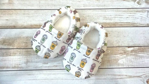 I Love You A Latte Baby Toddler Booties, Baby Toddler Shoes, Baby Toddler Soft Sole Shoes, Fabric Booties, Crib Shoes, CUSTOMIZABLE