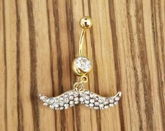 14g Gold Diamond Mustache Navel Ring!