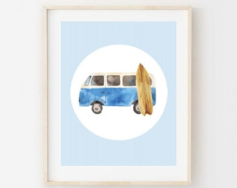 Printable Wall Art. Watercolor Kombi Van and Surfboard - 8x10