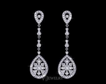 Art Deco Wedding Earrings - Vintage Earrings - 1920s Earrings - Bridal Earrings - Drop Earrings - Filigree Earrings - Pave - Crystal -AE0129