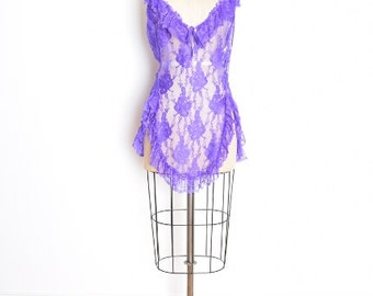 vintage 80s lingerie sheer purple lace ruffle nightie nightgown teddy plus size 1980s clothing XXL