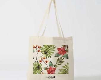 X77Y Tote bag tropical flowers, tote bag flowers, bag Tote everything, beach bag, bag races, bag, diaper, bag offer