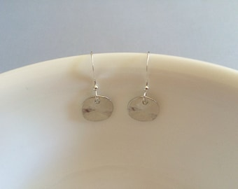 Matte rhodium plated disk charm earrings