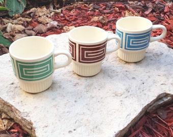 Vintage 1960s Ceramic Stacking Mugs with Rectangular Mod Design (Set of 3)