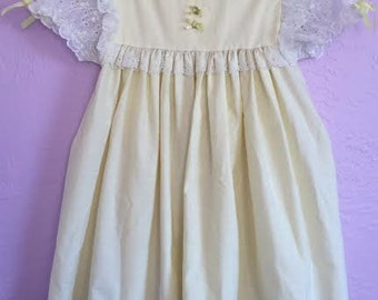 Vintage Pale Yellow Dress. Vintage Rose Yellow Dress. Vintage Cotton Dress. Vintage Yellow Party Dress. Yellow Dress w/ Lace Sleeves. 3T