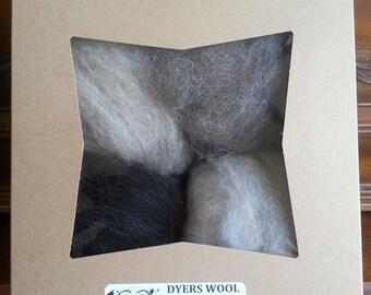 Wool Roving Sampler, Navajo Churro Colors Colorado-Grown