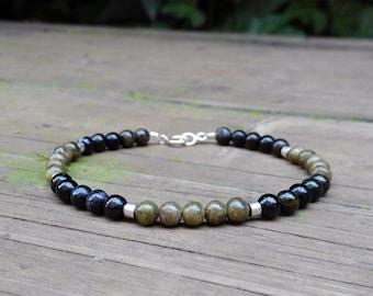 Mens Bracelet dark and light green Tourmaline.Modern/Genuine Gemstone/Designer Bracelet/Healing Stones/Men jewelry/Men Bracelet/Black/Green