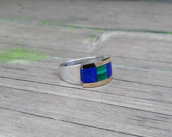 Stunning ring with Lapis Lazuli, Malachite, 18K gold and Sterling silver